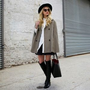 Topshop Jackets & Coats - Topshop brown houndstooth cape